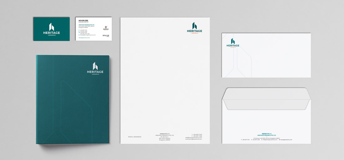 Heritage Ceramics corporate stationery design